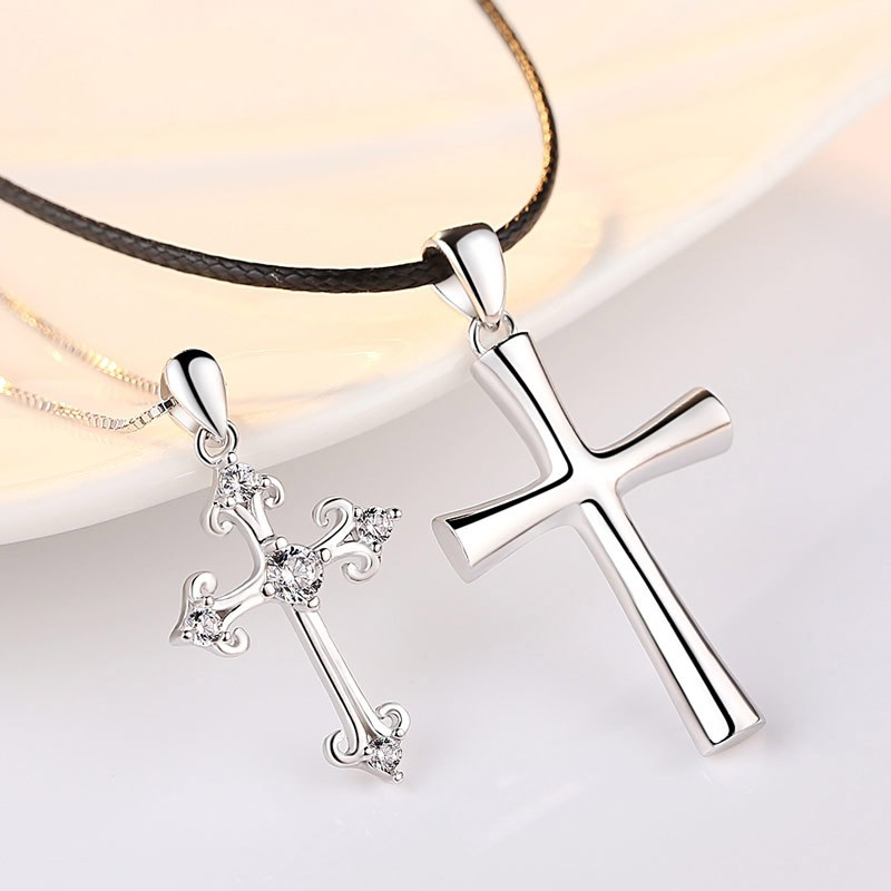 Sterling Silver Simple Fine Cross Pendant Lover Necklaces