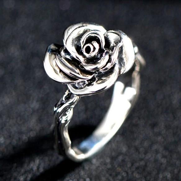 0f1bdd986215cb Retro 925 Sterling Silver Rose-shaped Ring For Women - Silver Rings