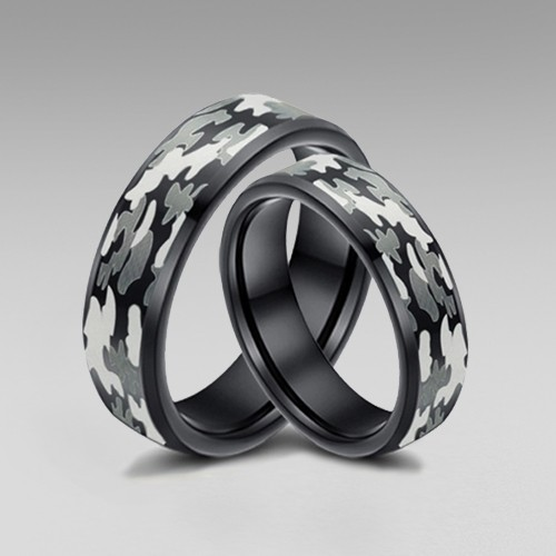 Camo Rings for Him and Her with Black Inside