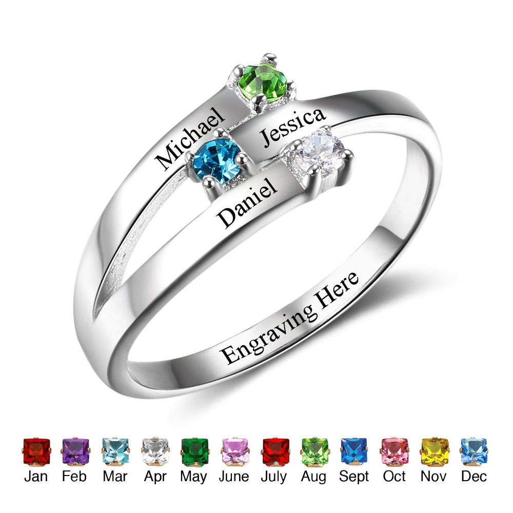 ba1b6c5587a01 Personalize Birthstone & Engraved Sterling Silver Ring