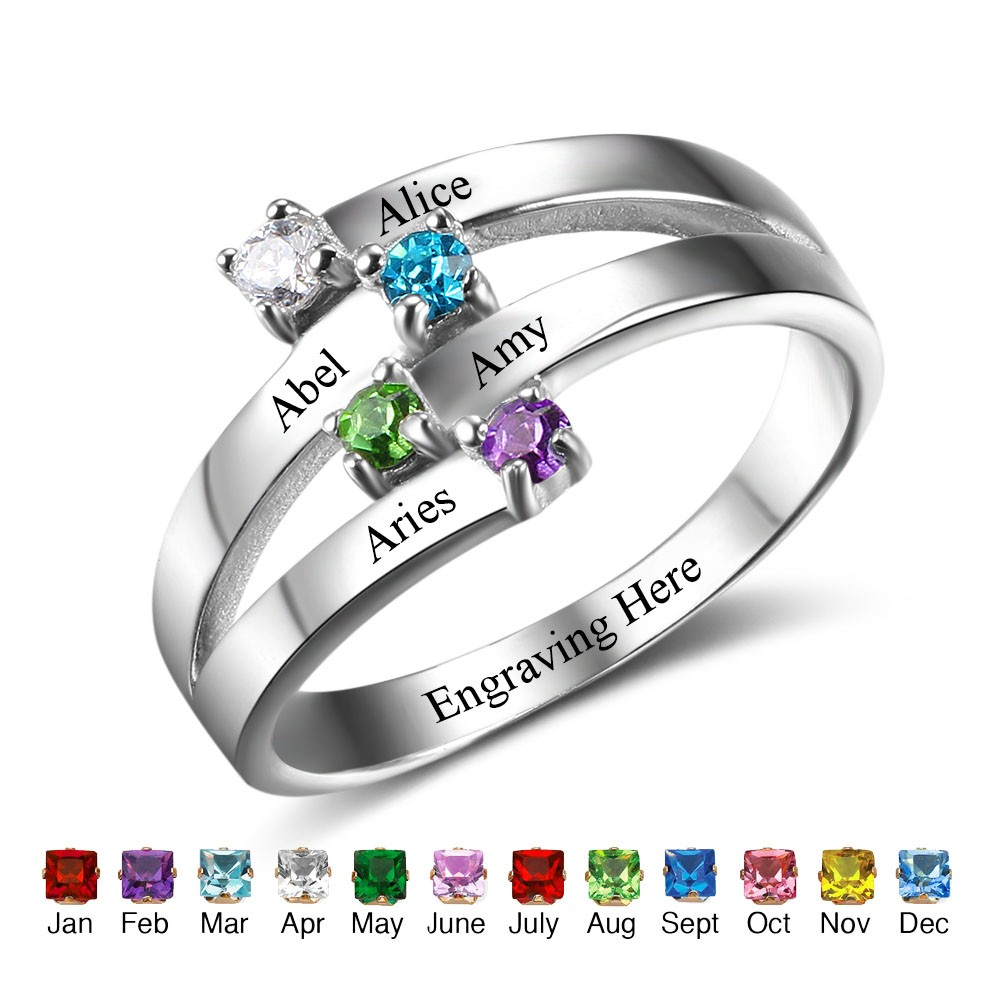 s mother birthstone and rings silver ring family sterling jewelry limoges personalized