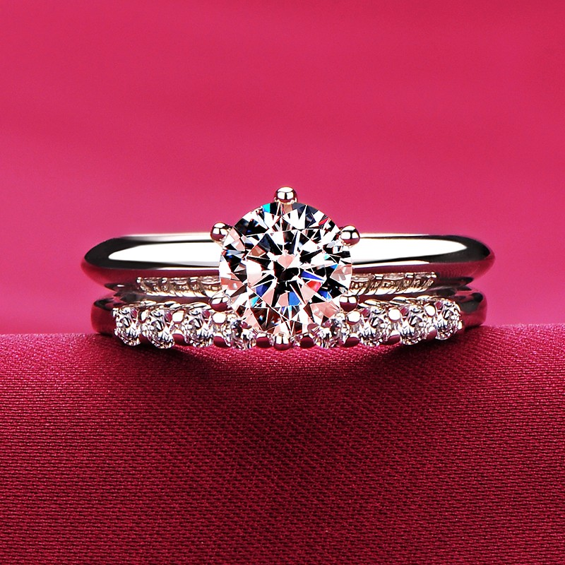 1 0 Carat Simulated Diamond Engagement Wedding Promise Ring Set For Her