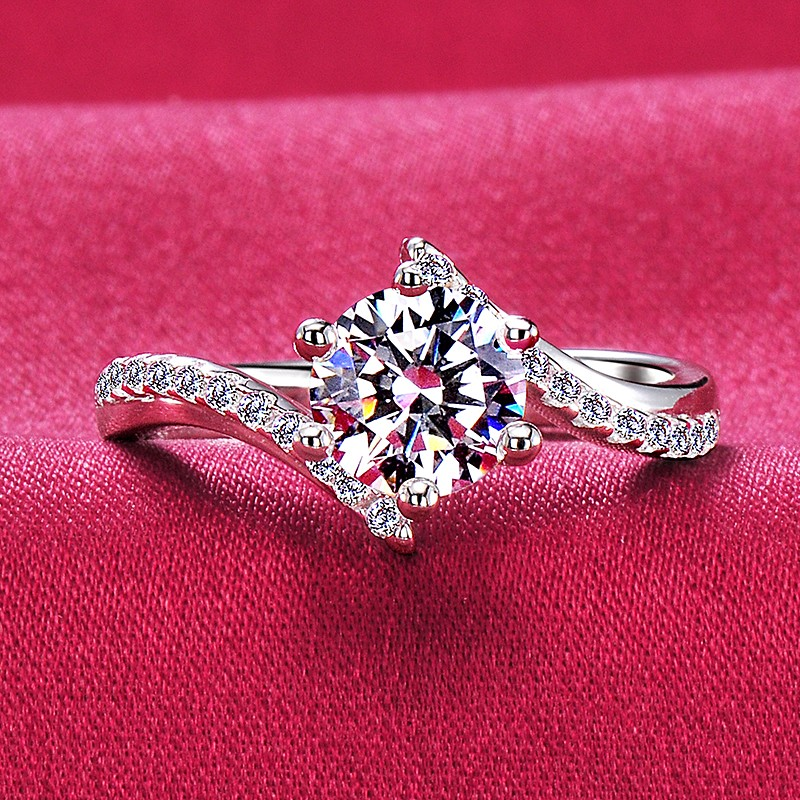 aa3fefbd18e58 0.3 - 1.0 Carat Simulated Diamond Engagement/Wedding/Promise Ring For Her