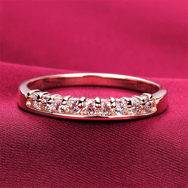 83db5d6e68f3d 0.3 Carat x 9 Simulated Diamond Engagement/Wedding/Promise Rose Gold Ring  For Her