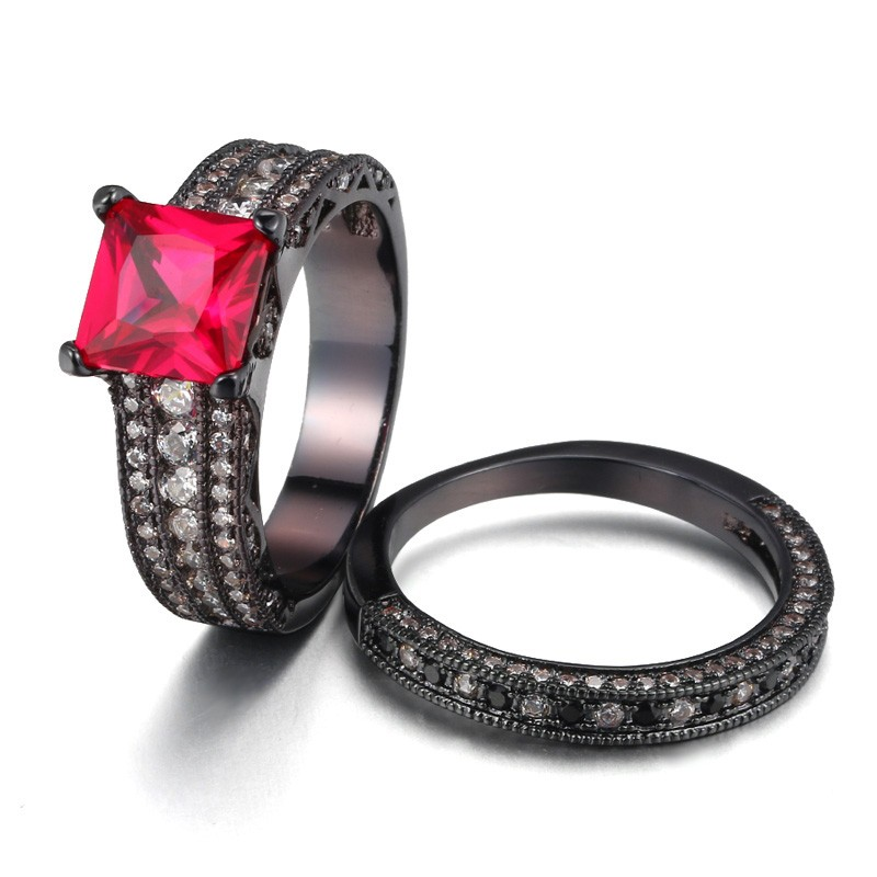 Shop Our Princess Cut Rose Red Sapphire 925 Sterling Silver Black Engagement/Wedding Ring Bridal Set With The Lowest Price And Get Extensive Classic And Fashion
