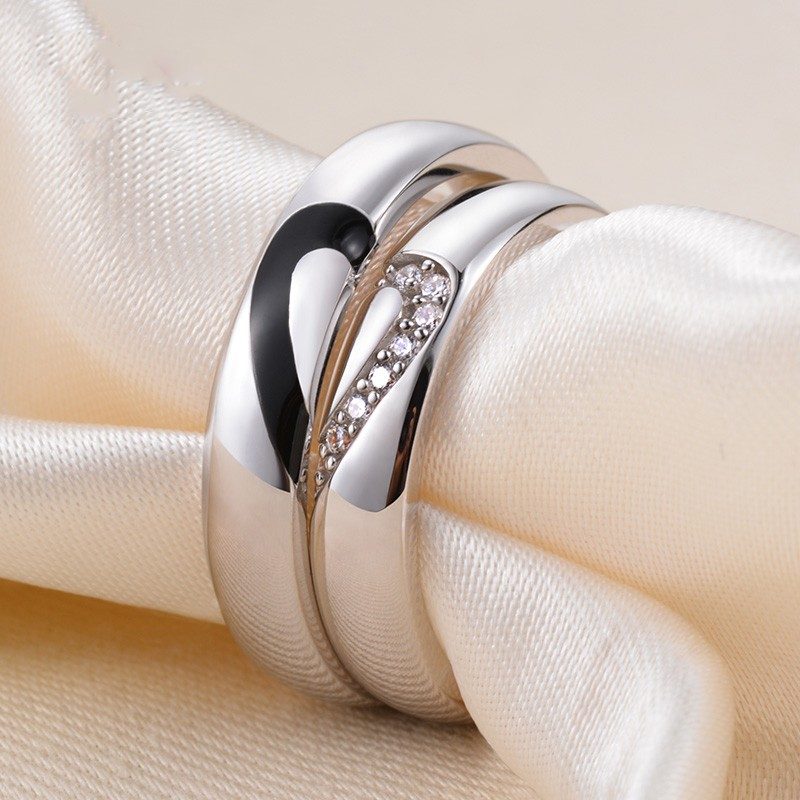 Unique 925 Sterling Silver White Gold Plated Lovers Heart Couple