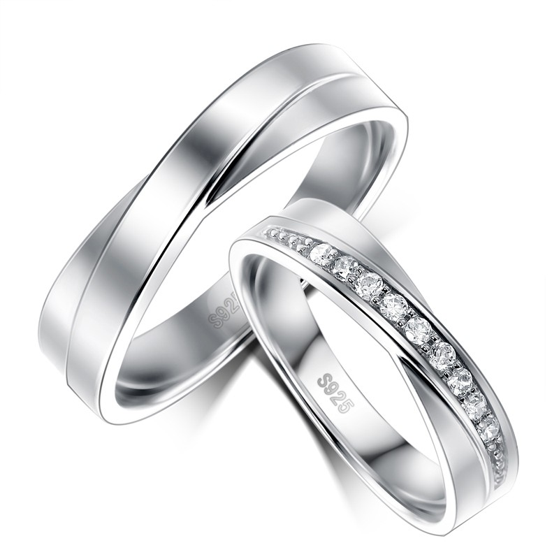 New 925 Sterling Silver Platinum Plated Cubic Zirconia Lovers Rings