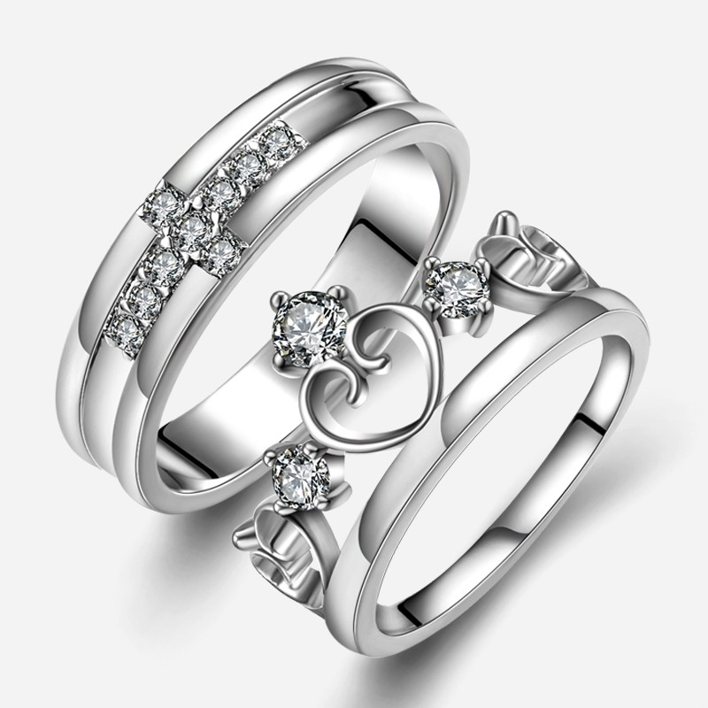 91aa75be9d New Fashion Personalized Cross With Heart Unique 925 Sterling Silver Lover's  Heart Couple Rings (Price For a Pair) - Love Rings