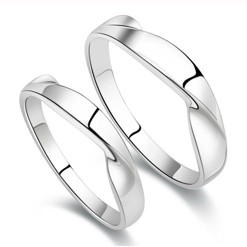 Lovely Water Wave Design Hot Sale Lover\'s Sterling Silver Rings ...