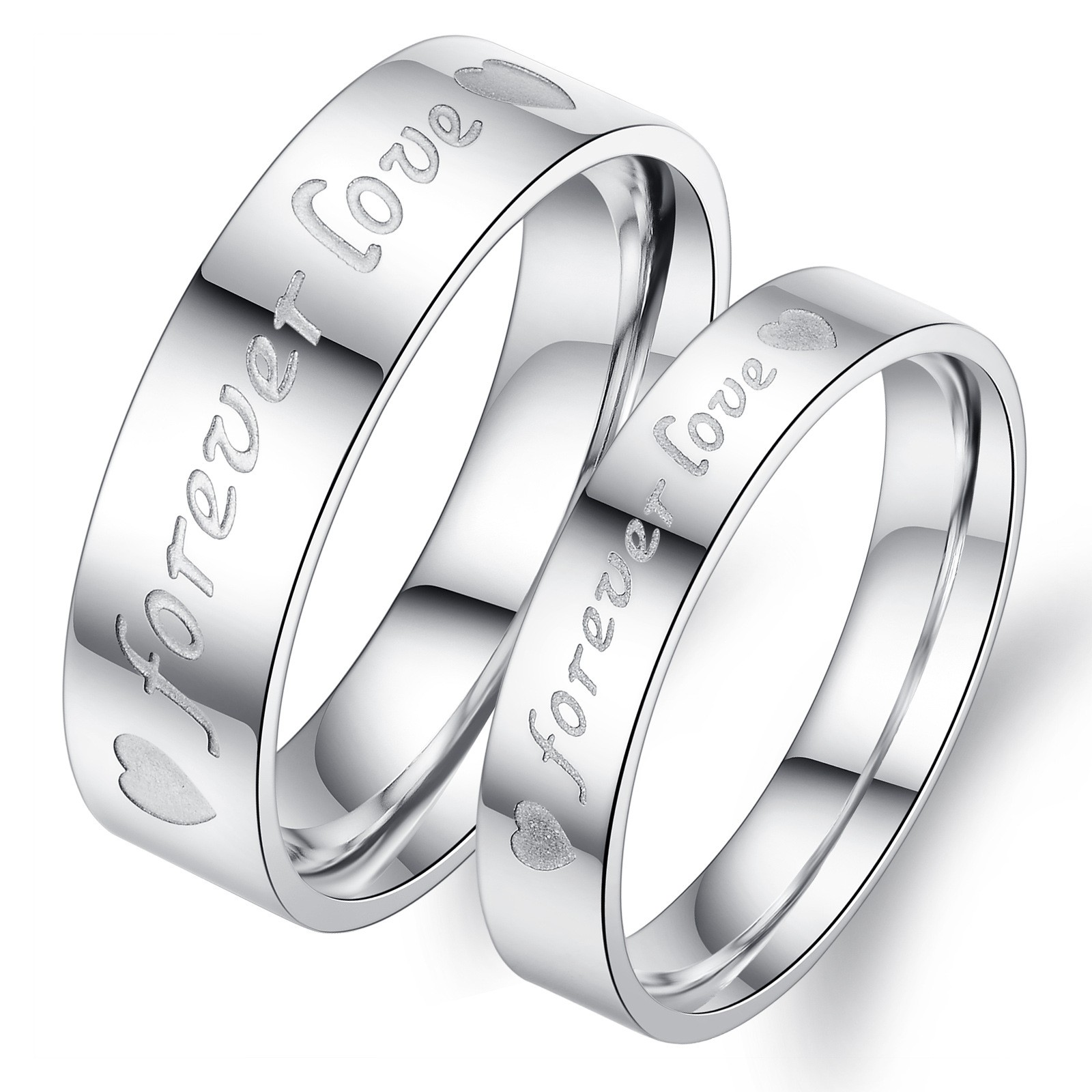 Forever Love Engravable Titanium Steel Matching Set Affordable Lover Rings(price  For A Pair)