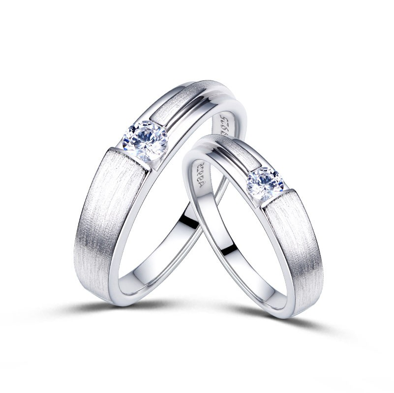 f575c5a4ad Dull Polish Platinum Plated 925 Sterling Silver Lover Rings(Price For a Pair)  - Love Rings