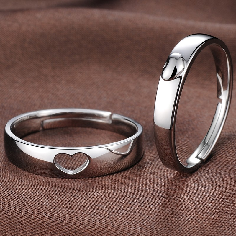 3501ed3ff7 925 Silver Heart-Shaped Opening Korean Creative Engraved Couple Rings