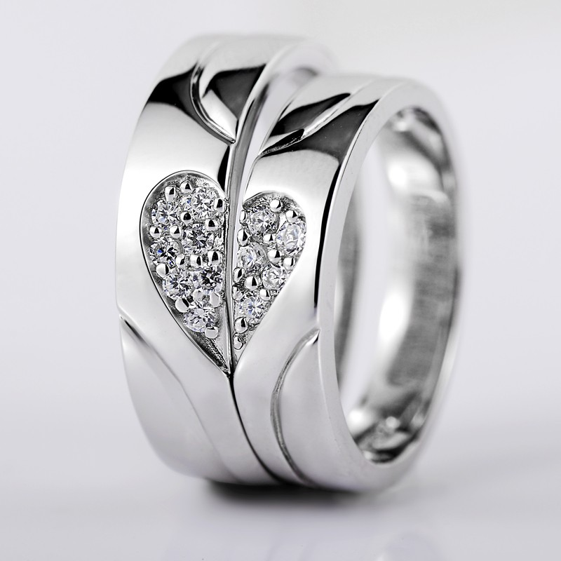925 Silver Heart Shaped Diamond Creative Design Engraved