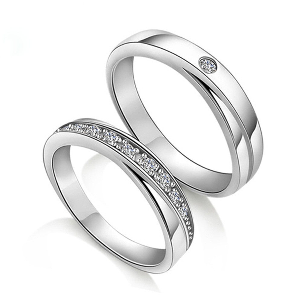 Engagement Rings For Couples: 925 Silver Rhodium Lettering Couple Rings