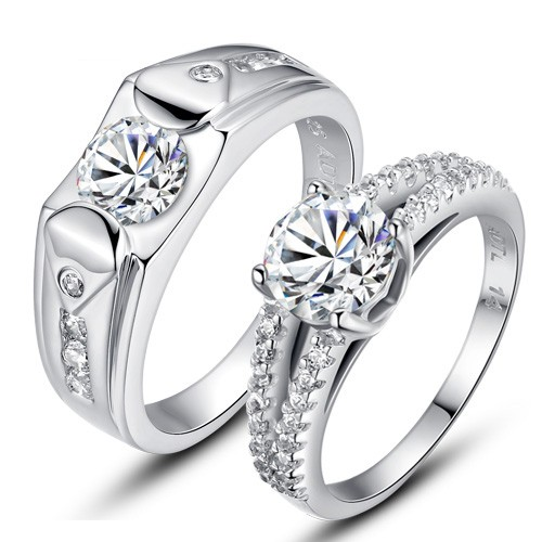 b074eb3fb7 925 Silver Rhodium Lettering Wedding Ring - Couple Rings