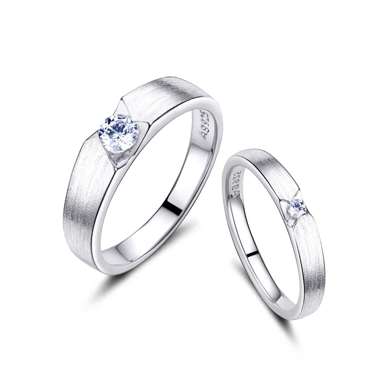 couple platinum jewellery matte rings silver plated