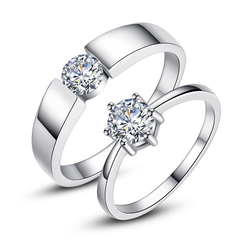 Korean 925 Sterling Silver Classic Six Claw Simulation Diamond