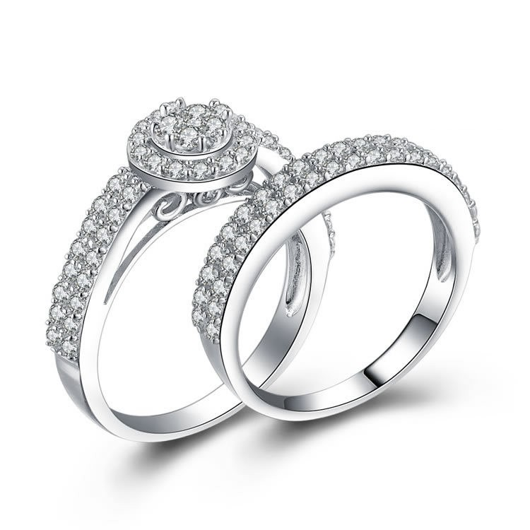 Korean Hot Sell 925 Sterling Silver Engagement Ring Set