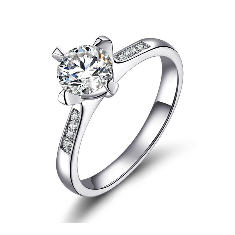 ae8eb6b95075e Korean Version Of The Simple 925 Sterling Silver Inlaid Cz  Wedding/Engagement Ring
