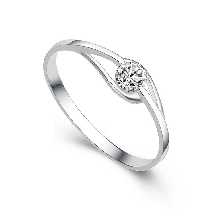 Simple Chic 925 Sterling Silver Plated White Gold Engagement Ring Engagemen