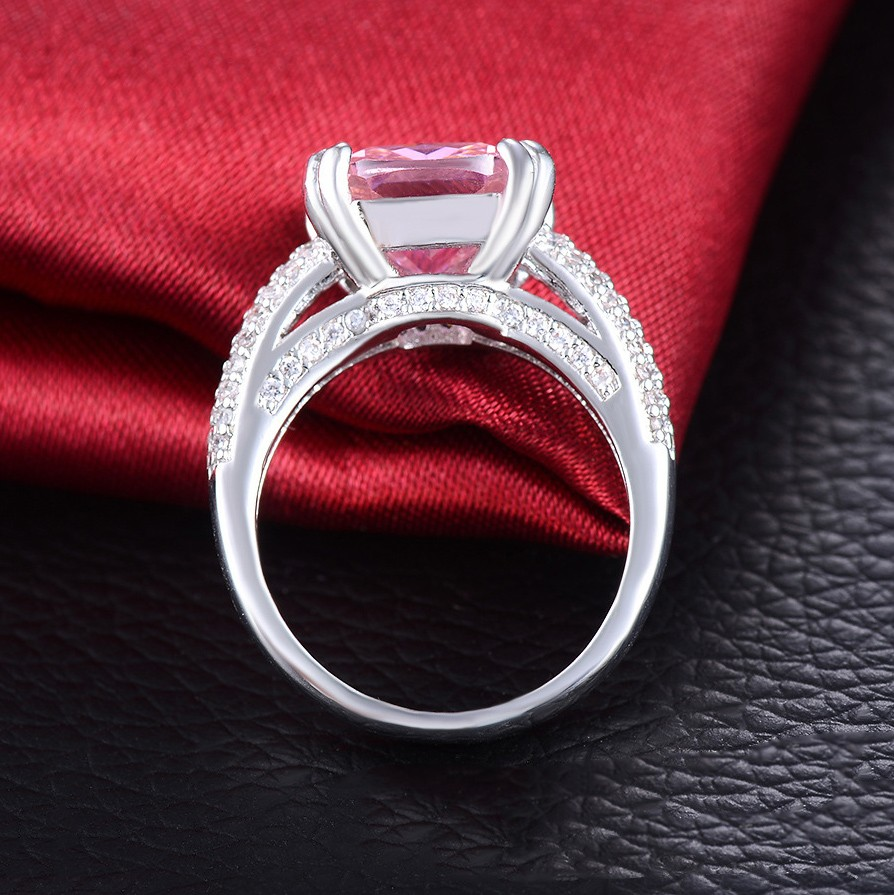 High End Fashion Ultra Luxury Inlaid Pink Cz Engagement Ring