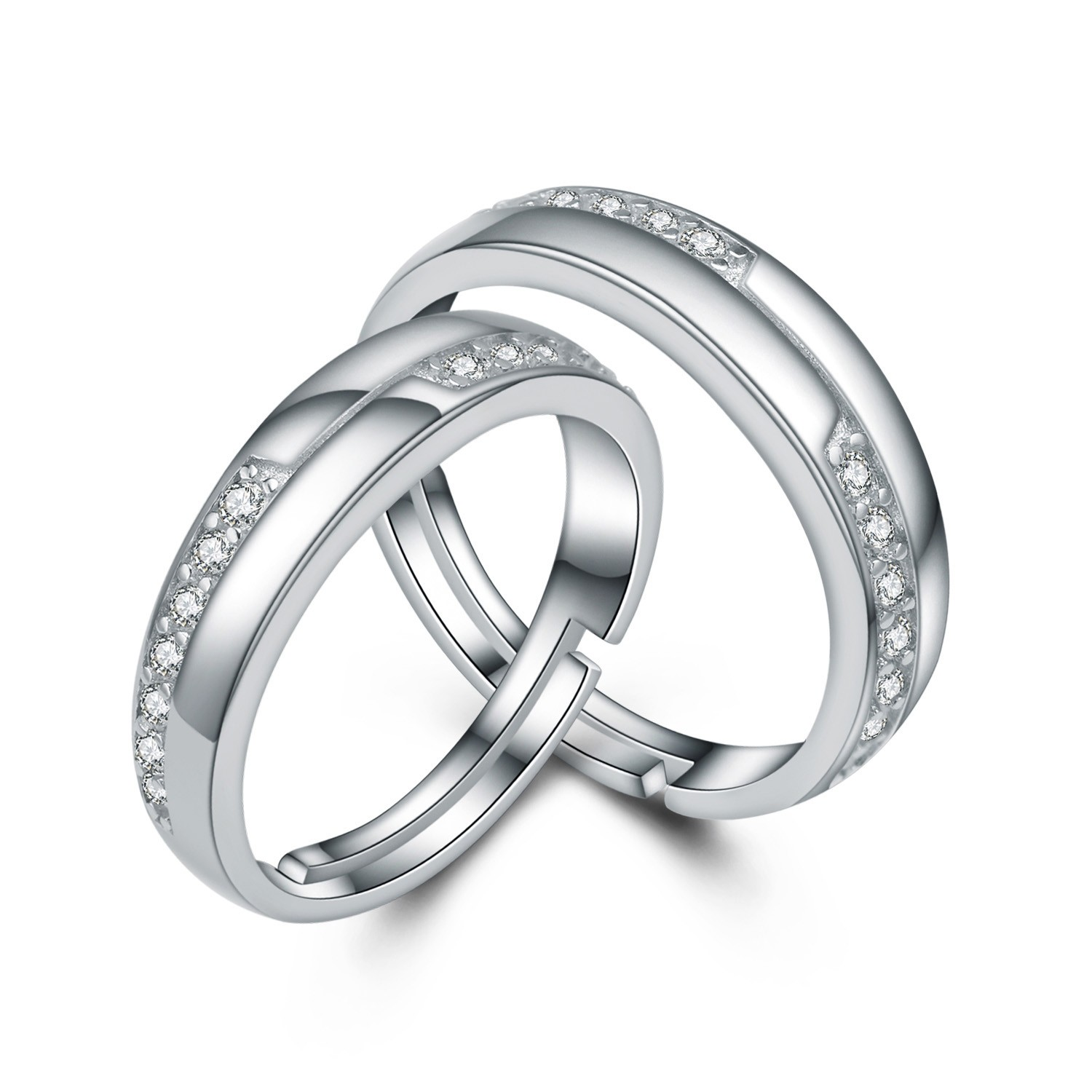 1e41f2134d High-End 925 Sterling Silver Inlaid Cubic Zirconia Couple Rings - Couple  Rings