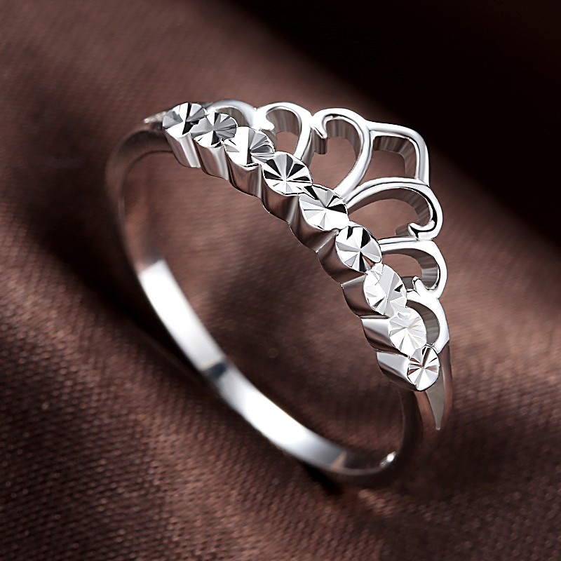 korean version of the simple crown moldings 925 sterling silver engagement ring - Crown Wedding Rings