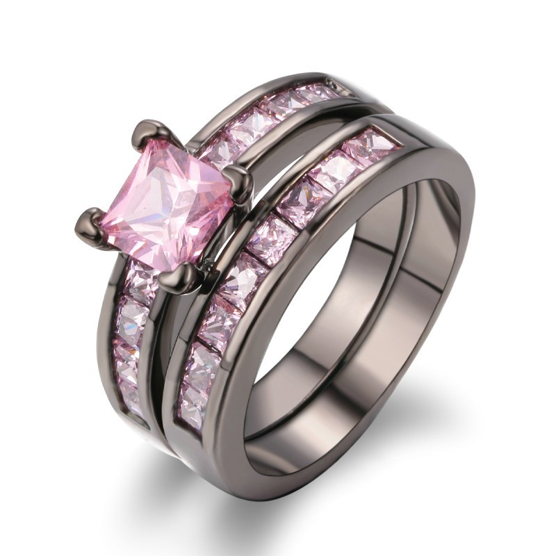 Hot Sale New Luxury Black Gold Inlaid Pink CZ Engagement Ring Sets