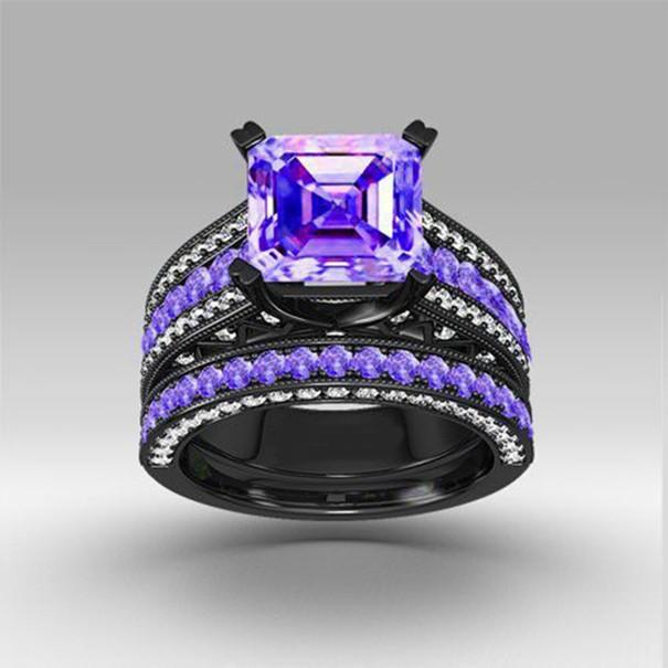 Black Gold Inlaid Charming Purple Cz