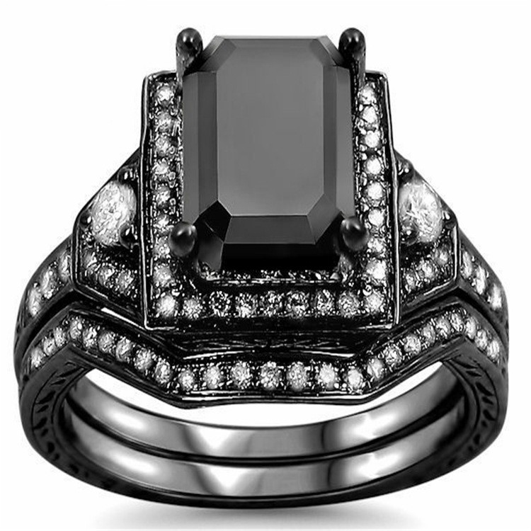 Luxury Fashion Exaggerated Copper Plated Black Gold Engagement Ring Sets