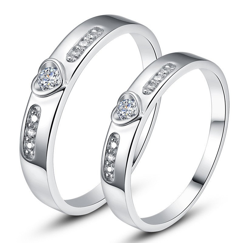 1f06549219 925 Sterling Silver Heart-Shaped Inlaid Cubic Zirconia Couple Rings - Couple  Rings