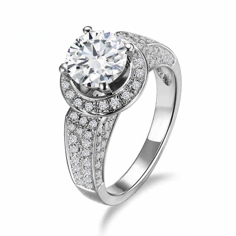 High End Luxury Jewelry 925 Silver Inlaid Cubic Zirconia With Four Claw Engag