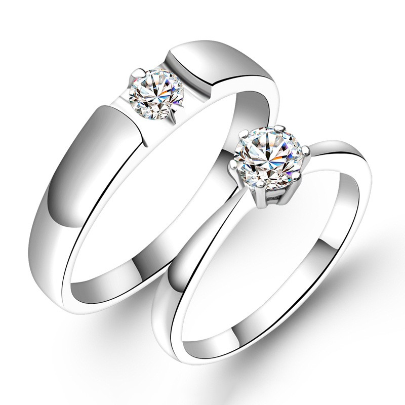 cf87b5e1c1 Eternal Love 925 Sterling Silver Inlaid Pure Cubic Zirconia Couple Ring - Couple  Rings