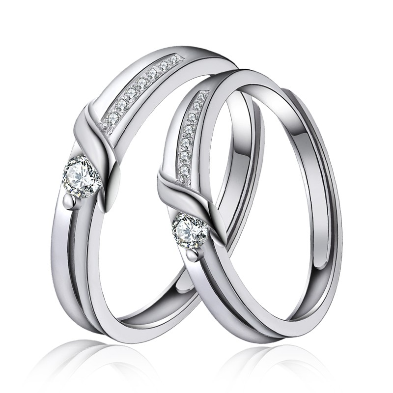 3bff07158a Unique Beautiful 925 Sterling Silver Plated White Gold Couple Rings - Couple  Rings