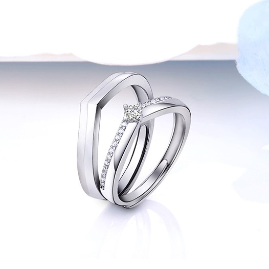c662c2c639 Brave Love 925 Sterling Silver Plated White Gold Creative Couple ...