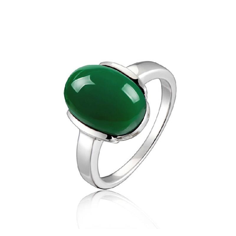 simple low key 925 sterling silver inlaid gemstone ring