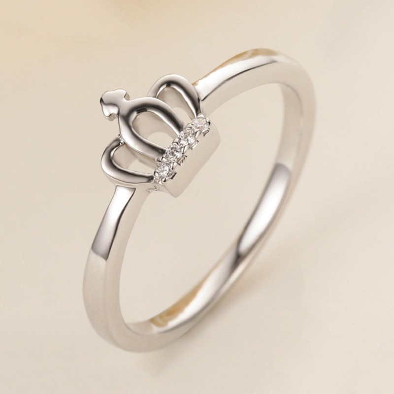 exquisite carving simple 925 silver crown engagement ring - Crown Wedding Ring