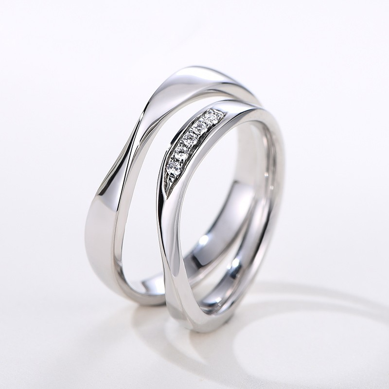 a590b31c6e Simple Creative Design Romantic Lines 925 Sterling Silver Couple Rings With  Cubic Zirconia - Couple Rings