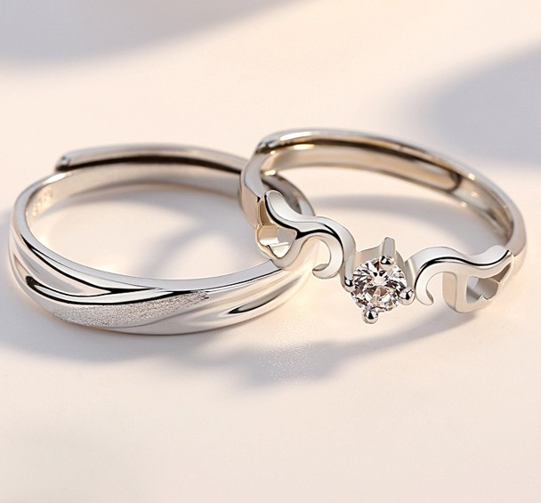 e2edf2323b Original Simple Design Meet The Love 925 Sterling Silver Lovers Couple  Opening Rings