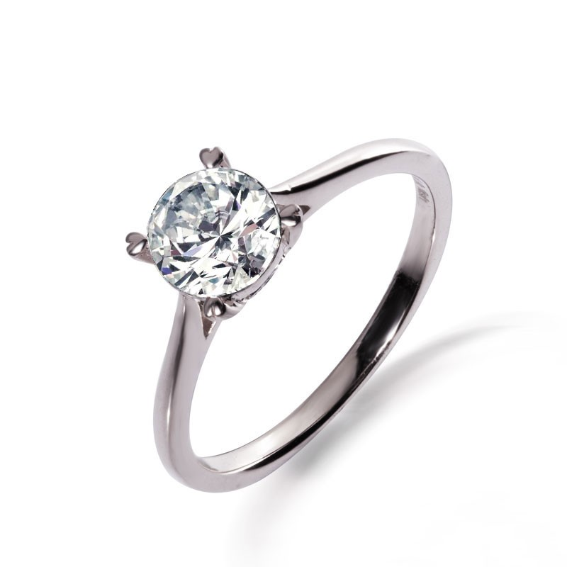b3449e715e640 925 Silver Inlay Cubic Zirconia Heart-Shaped Simple Engagement Ring