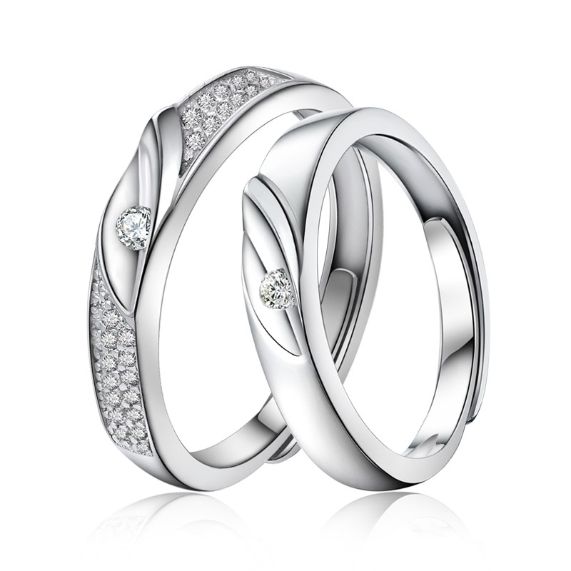 3d08555497 925 Sterling Silver Plated White Gold Adjustable Couple Rings - Couple Rings