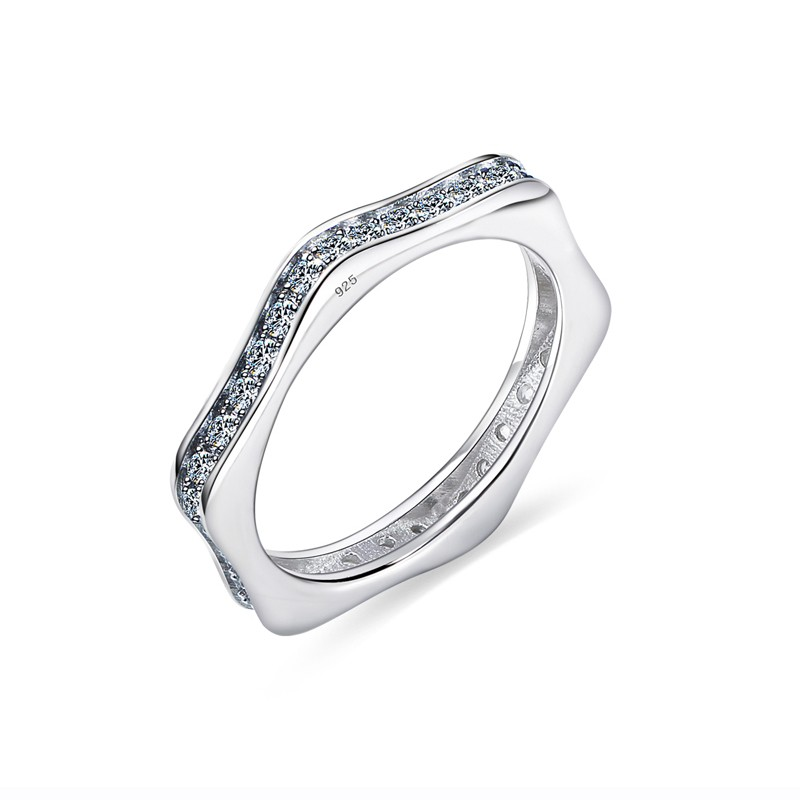 S925 Silver Inlaid Cubic Zirconia Simple Sweet Star Shaped Ring