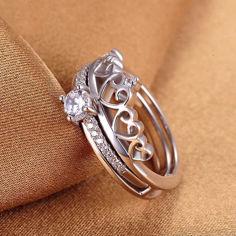 Silver Personalized Creative Combination Crown Ring