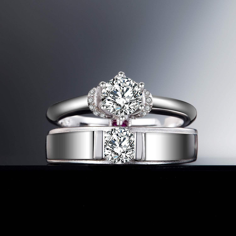 Elegant Wedding Monogram Collection: Brand New 925 Silver Romantic Elegant Opening Couple Rings