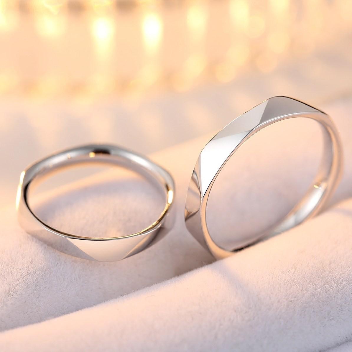 Original Multi-Section Cut Design 925 Silver Couple Rings ...