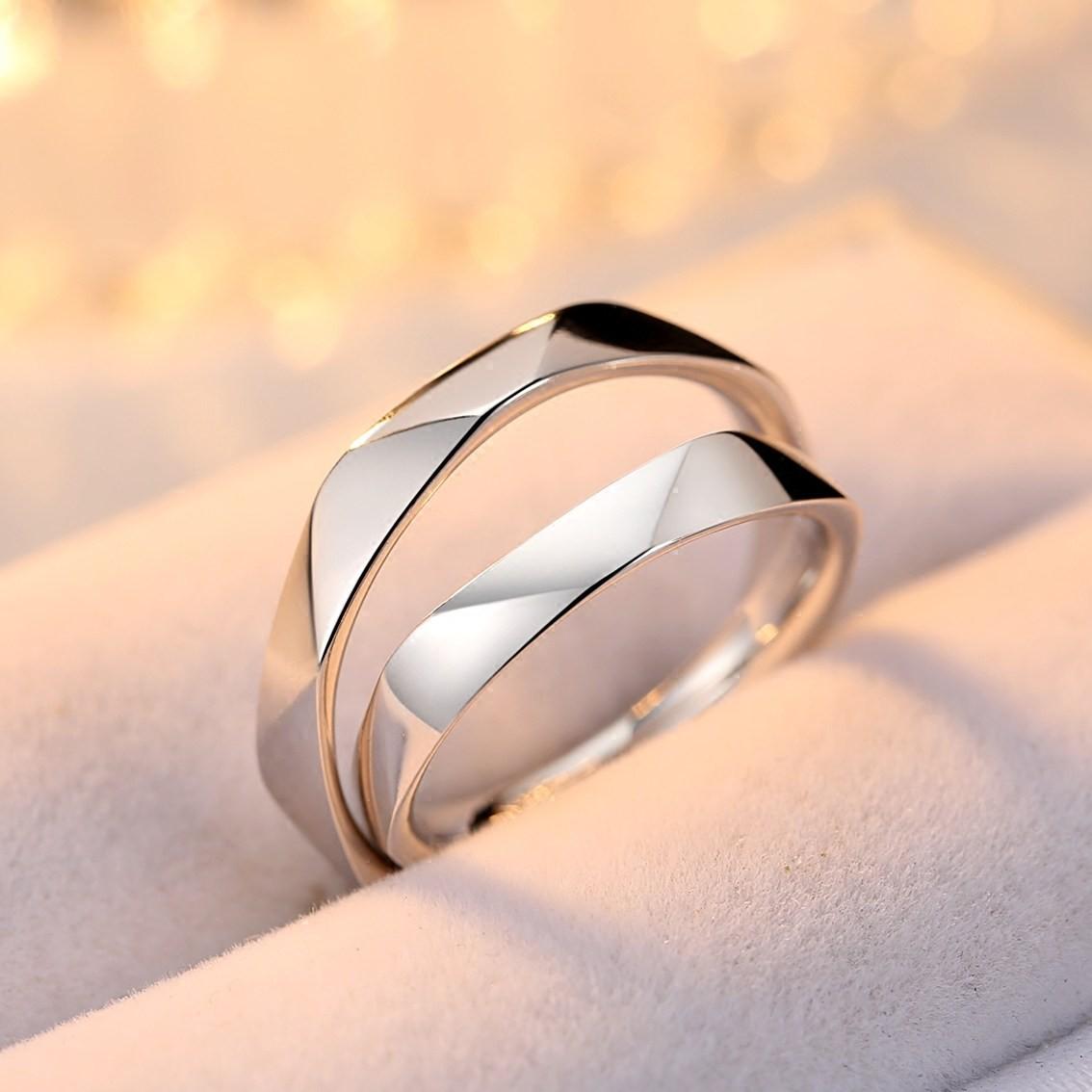 Original Multi-Section Cut Design 925 Silver Couple Rings - Couple ...