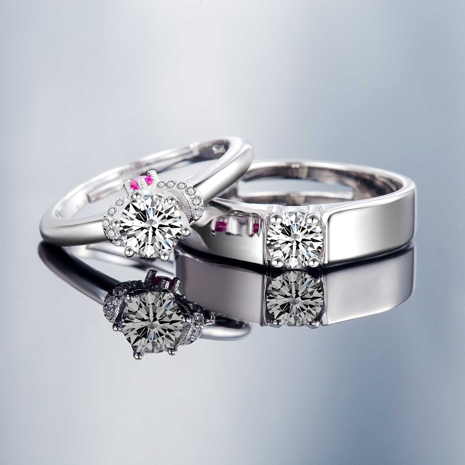 925 Silver Plated White Gold Beautifully Wedding ...