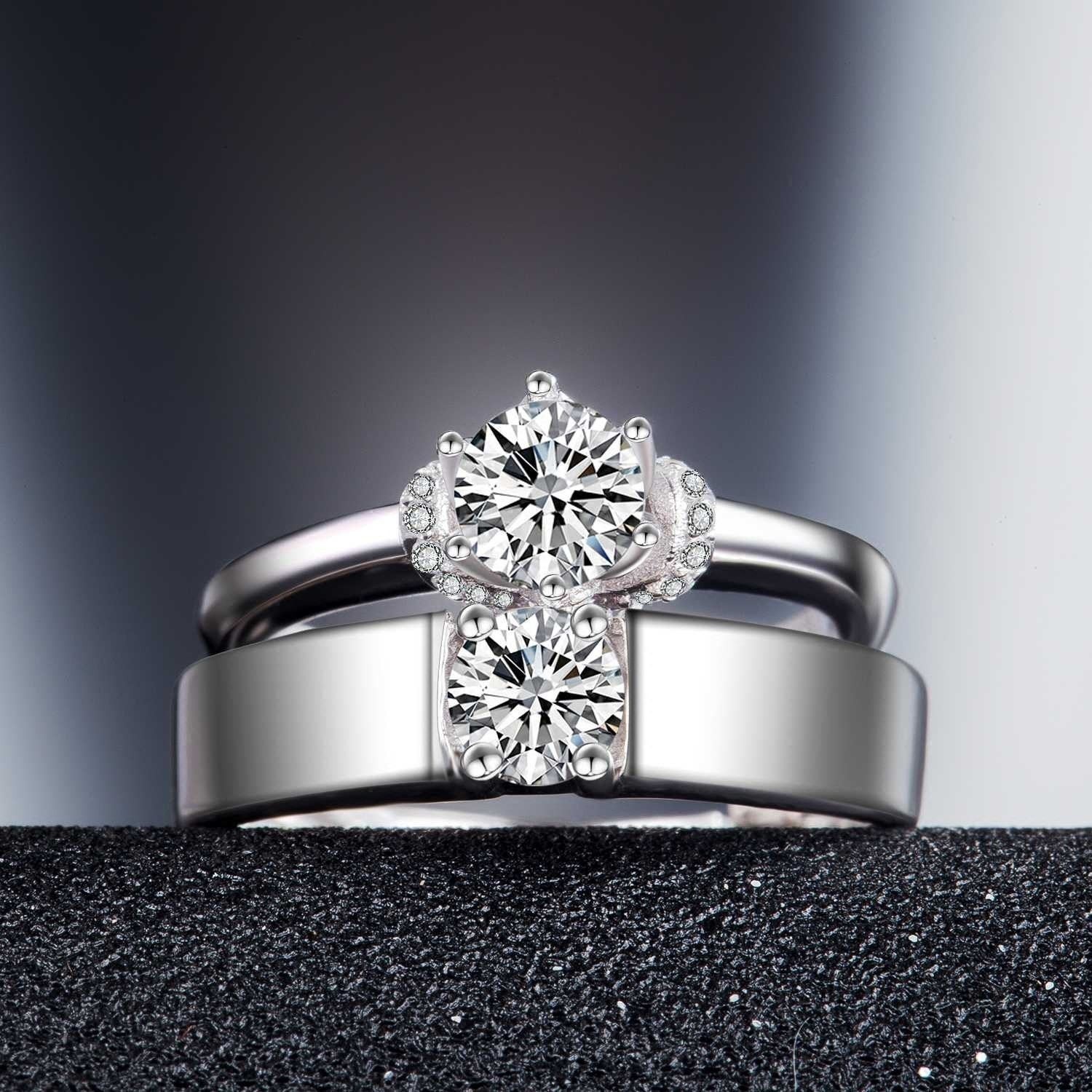 925 Silver Plated White Gold Beautifully Wedding/Engagement Couple ...