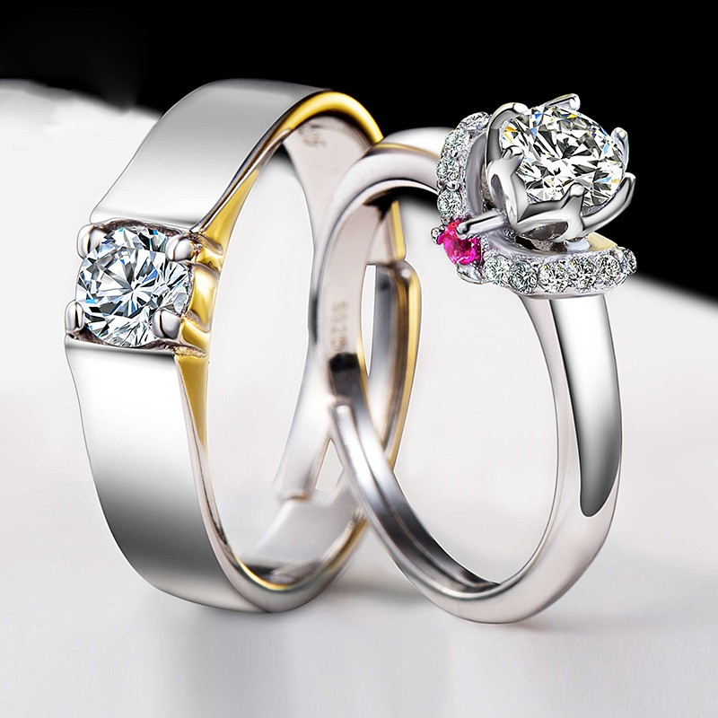 925 Silver Plated White Gold Beautifully Wedding Engagement Couple Rings