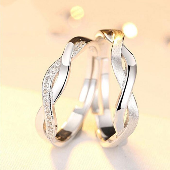 Beautiful Lines S925 Silver Inlaid Cubic Zirconia Couple Rings ...